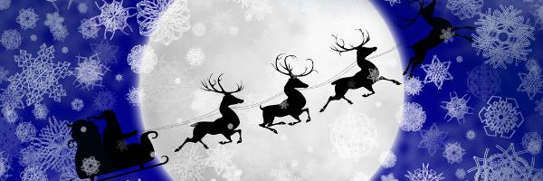 Illustration Of Santa And Reindeer Flying