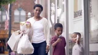 Mom With Groceries Kids With Ice Cream