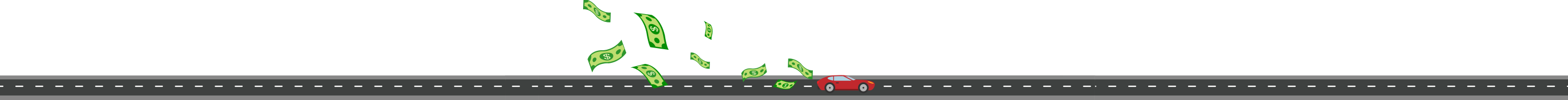 Illustration Of Car Driving on Road And Money Flying