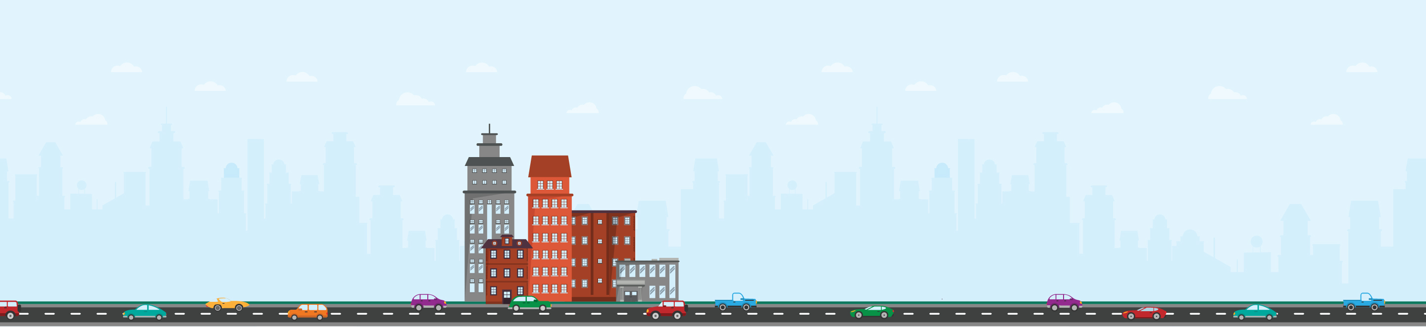 Illustration Of Cars Driving In City