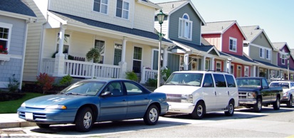Vehicles Parked On A Residential Street